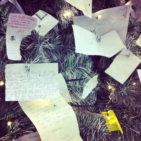 Bigliettini sull'albero di Natale a Termini