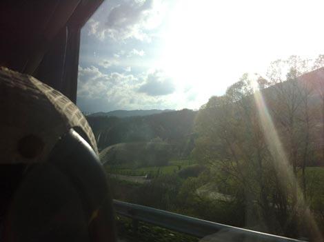 vista dal finestino dell'autobus