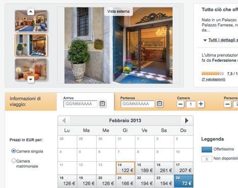 hotel info calendario prezzi