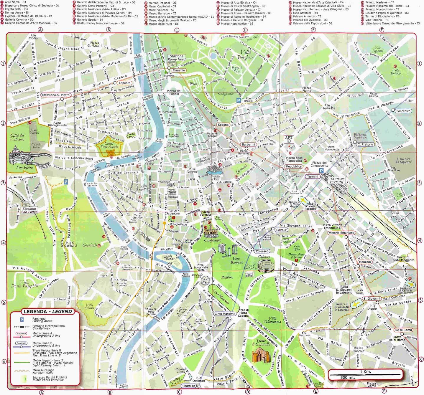 Cartina Di Roma Centro Con Monumenti.Mappa Di Roma Da Stampare