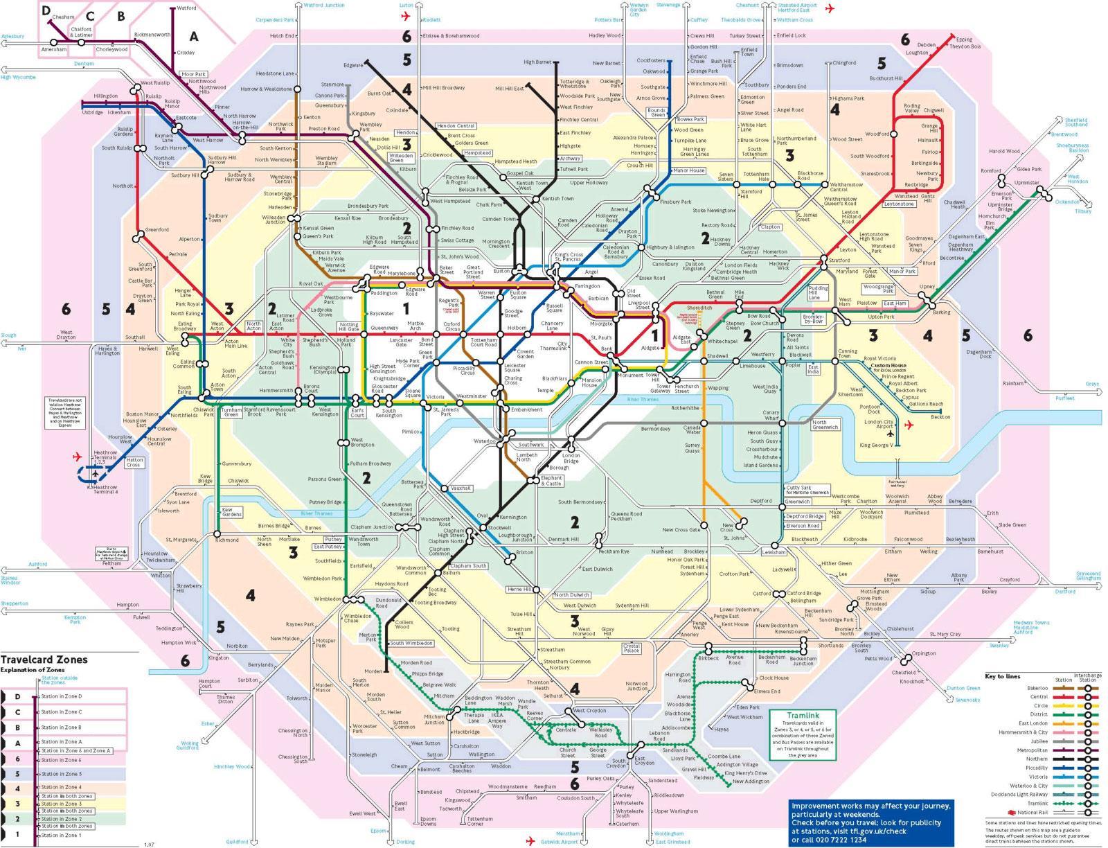Londra Cartina Zone.Mappa Della Metro Di Londra Da Stampare E Conservare