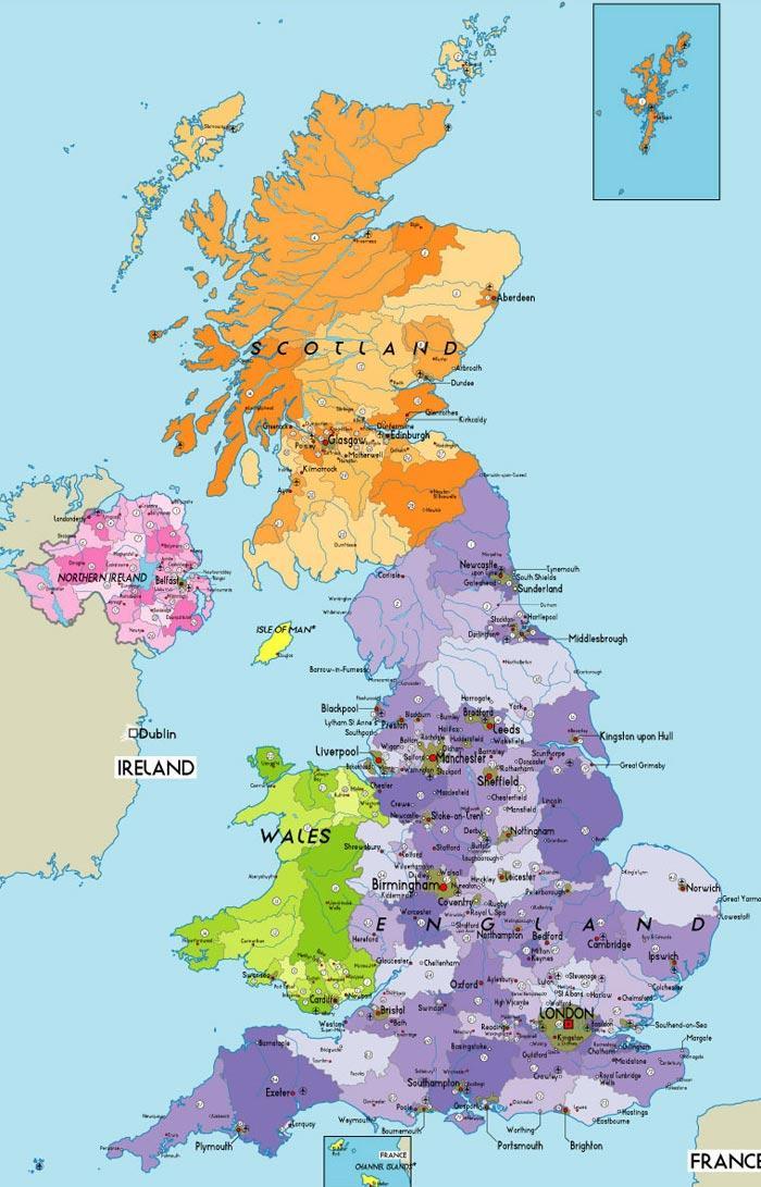 Cartina Geografica Fisica Della Gran Bretagna.Le Cartine Geografiche Dell Inghilterra