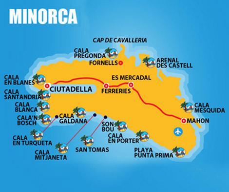 cartina minorca spiagge