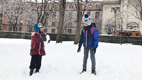 New York con bambini: central park con la neve